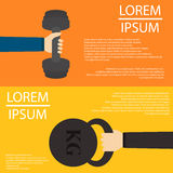 Barbell and weight in hands flat design on backfround Royalty Free Stock Photos