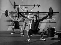 Barbell weight lifting group workout exercise gym. Barbell weight lifting group workout exercise at gym box Stock Photo
