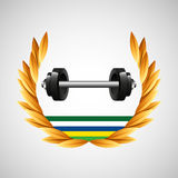 Barbell weight olympic games emblem Stock Image