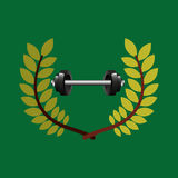Barbell weight olympic games emblem Stock Images