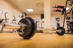 Barbell for weight training to build muscle at fitness room. Stock Image