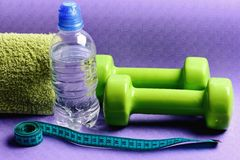 Barbells κοντά στο μπουκάλι νερό και τη μαλακή πετσέτα που βρίσκονται στο χαλί στοκ φωτογραφία με δικαίωμα ελεύθερης χρήσης