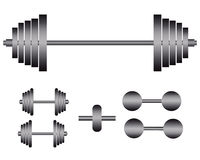 Barbells and dumbbells for exercise Royalty Free Stock Photos