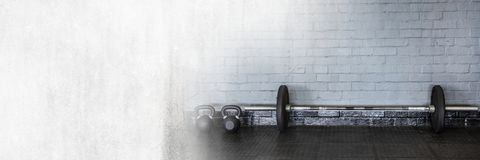 Barbells in Gym with transition stock image