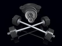 Barbells and heavy disks Stock Photography