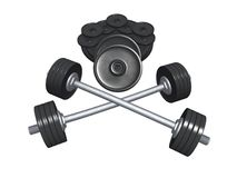 Barbells and heavy disks Stock Images