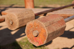 Barbells ready for workout, outdoors Royalty Free Stock Photos