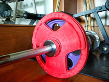 Barbells with red weights on gym floor Royalty Free Stock Image