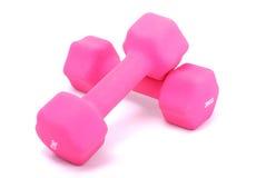 Barbells rosados Imagen de archivo libre de regalías