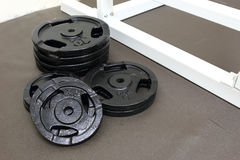 Barbells weight plate Royalty Free Stock Image