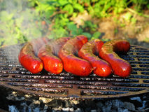 Barbeque. Summer garden barbeque sausages on the grill Royalty Free Stock Photos