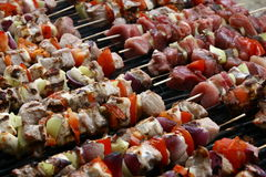Barbeque. Being prepared, meat being prepared Royalty Free Stock Photo