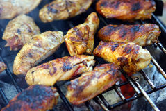 Barbeque. Chicken wing barbeque, closeup image Stock Photography