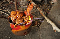 Barbeque. Chicken Drumsticks on a coal fired barbeque Stock Photography