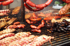 Barbeque assorted meat in spanish style, Spain. Barbeque assorted meat in spanish style Stock Photos