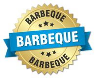 Barbeque. Gold badge with blue ribbon stock illustration