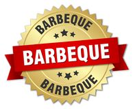Barbeque. Gold badge with red ribbon stock illustration