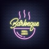 Barbeque. Barbeque neon sign. Neon glowing signboard banner design.  stock illustration