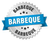 Barbeque. Silver badge with blue ribbon stock illustration