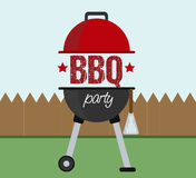 Barbeque BBQ party invitation concept. BBQ illustration part invitation concept with a garden background. Easy to edit and add your own text Stock Images
