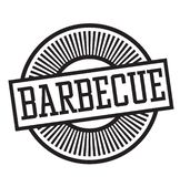 Barbeque stamp in german stock illustration