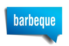 Barbeque blue 3d speech bubble. Barbeque blue 3d square isolated speech bubble vector illustration