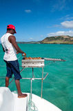 Barbeque on the catamaran board Royalty Free Stock Photos