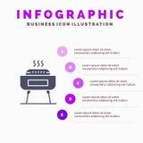 Barbeque, Celebration, Festivity, Holiday Solid Icon Infographics 5 Steps Presentation Background stock illustration