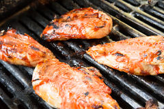 Barbeque chicken cooking on the grill Royalty Free Stock Photos