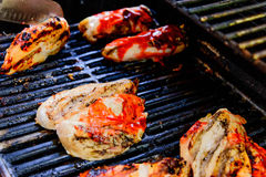Barbeque chicken on the grill Royalty Free Stock Photography