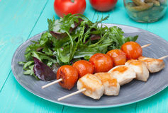 Barbeque chicken with tomatoes in a plate with salad Royalty Free Stock Images