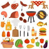 Barbeque color icons set for web and mobile design Stock Photo