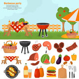 Barbeque color icons set for web and mobile design. Outdoor bbq time illustration. Barbeque color icons set. Outdoor bbq time illustration stock illustration
