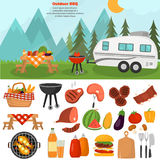 Barbeque color icons set for web and mobile design. Outdoor mountains bbq time illustration Royalty Free Stock Photography
