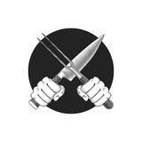 Barbeque or cooking vector illustration. Two hands with crossed knife and fork on a round background royalty free illustration