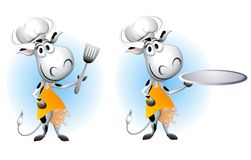 Barbeque Cow Cartoons. An illustration featuring your choice of cartoon cows wearing chefs hats, aprons and holding a spatula and tray vector illustration