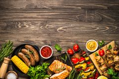 Free Barbeque Dish - Grilled Meat, Fish, Sausages And Vegetables. Royalty Free Stock Photo - 150006485