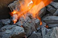 Barbeque fire. With burning charcoal stock image