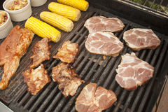 Barbeque. A barbeque full of delicious food Royalty Free Stock Images