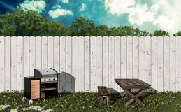 Barbeque in the garden. 3d illustration stock illustration