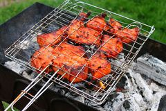 Barbeque at the garden, weekend relax stock photos