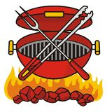 Barbeque grill. Over flaming charcoal with crossed fork and tongs royalty free illustration