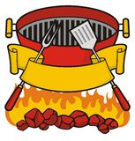 Barbeque grill. Over flaming charcoal, fork and spatula with scroll banner vector illustration