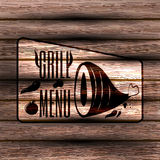 Barbeque, grill on background of a wooden board. Retro vintage badges, ribbons and labels, hipster signboard. Vector, illustration royalty free illustration