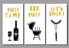 Barbeque and grill flyers. Set of templates. Idea for bbq party, restaurant promotion. White background. stock illustration