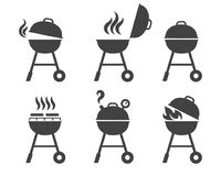 Barbeque grill icons. Vector bbq and grilling symbols, brazier and roaster silhouettes stock illustration