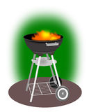 Barbeque Grill. Illustration of a barbeque against a green background stock illustration