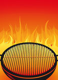 Barbeque grill. Illustration of a hot, flaming barbeque grill stock illustration
