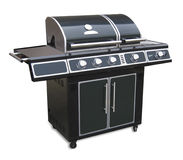 Barbeque grill, isolated. Very large gas barbecue grill with clipping path over white Stock Photos