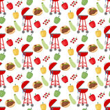 Barbeque grill pattern. On the white background. Vector illustration Royalty Free Stock Photo
